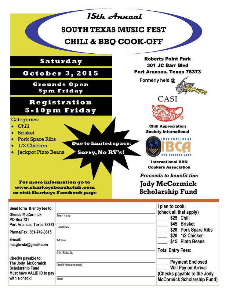 Chili & BBQ Cook Off Entry Form ~ South Texas Music Fest Oct 3, 2015